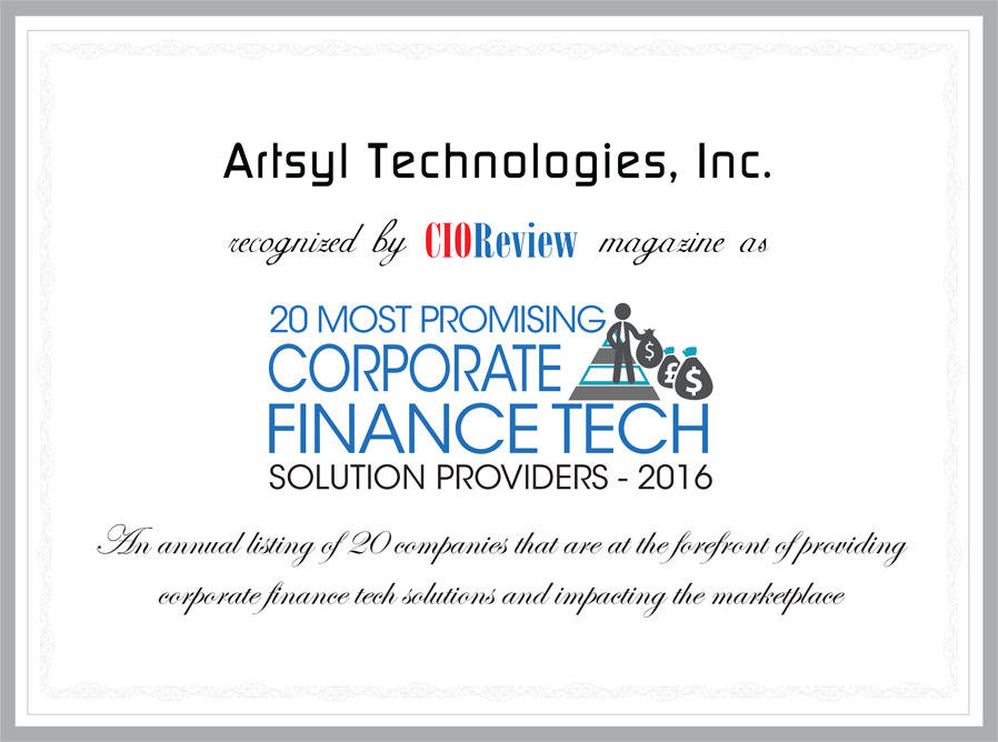 Artsyl Technologies, Inc. recognized by CIOReview magazine as 20 most promising corporate finance tech solution providers - 2016